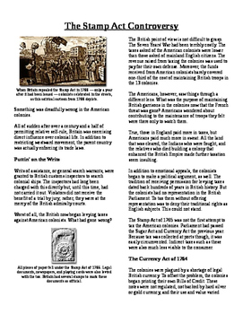 Informational Text - Events Leading to Independence: The Stamp Act (No Prep)