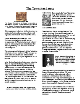 Informational Text - Events Leading to Independence: The Townshend Acts (No Prep