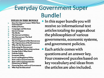 Info Reading Text - Everyday Government Super Bundle Save $13 (No Prep Sub Plan)