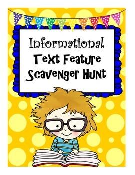 Informational Text Feature Scavenger Hunt Center Activity Sheet