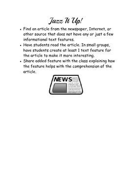 Informational Text Features Activities