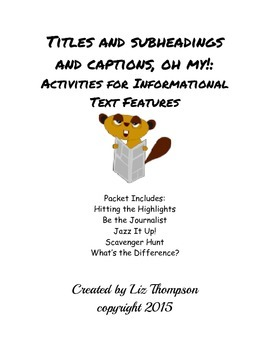 Informational Text Features Activities