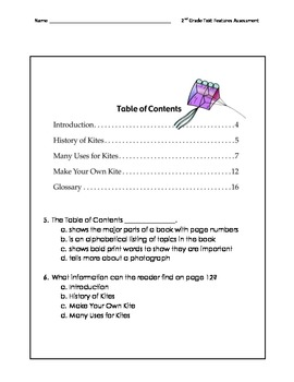 Informational Text Features Assessment