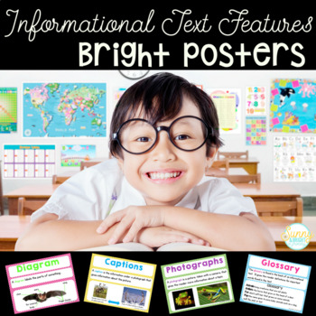 Informational Text Features- Bright Posters- Definitions and Examples #PlanAhead