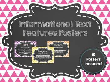 Informational Text Features Chalkboard Posters