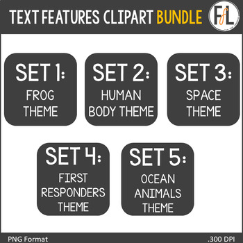 Nonfiction Text Features Clip Art {BUNDLE}