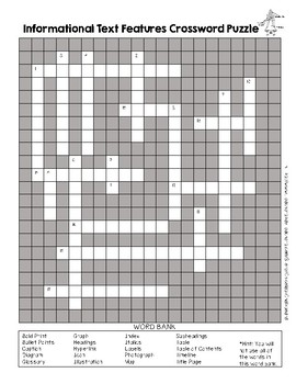 Informational Text Features Crossword Puzzle