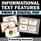 Informational Text Features, Nonfiction Reading Comprehension Task Cards