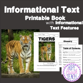 Informational Text Features Practice Book - Tigers