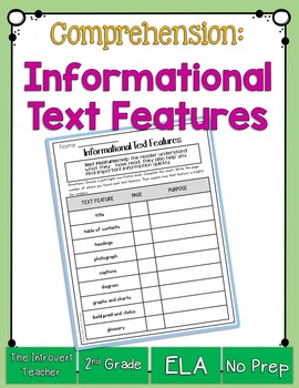 Informational Text Features Printable