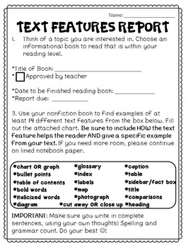 Informational Text Features Report for Nonfiction Reading RI.4.7 4th Grade