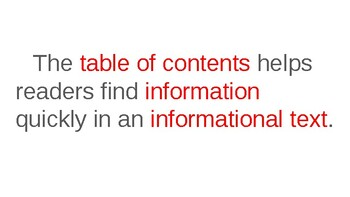 Informational Text Features: Table of Contents