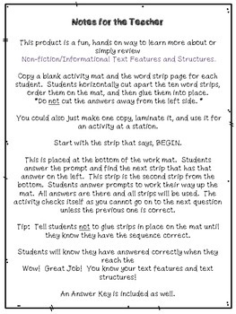 """Informational Text Features and Structures """"Up""""-Words Activity (Set Three)"""