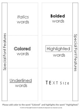 Informational Text Features for Interactive Notebooks