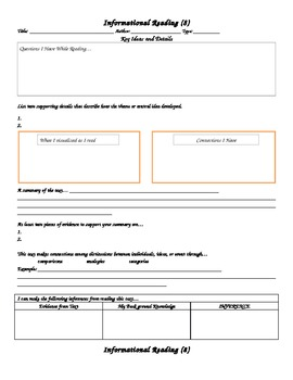 Informational Text Graphic Organizer Grade 8