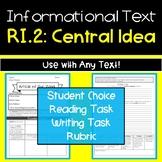 Informational Text Graphic Organizer: RI.2 Central Idea | ELA Nonficton