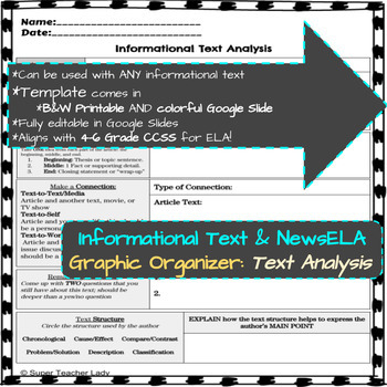 Nonfiction Text Analysis (NewsELA & Informational Text Graphic Organizers)