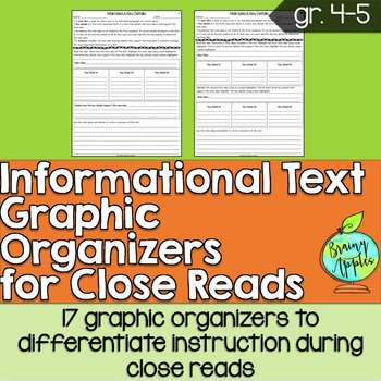 Informational Text Graphic Organizers Reading Grades 4-5