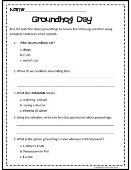Informational Text: Groundhog Day {Common Core Aligned}