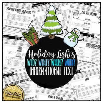 Informational Text: Holiday Lights   Reading Comprehension Passages & Questions