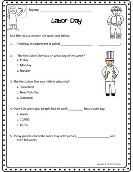 Informational Text: Labor Day {Common Core Aligned}
