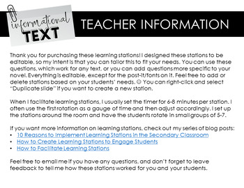 Informational Text Learning Stations for ANY Non-Fiction Text: Engaging Analysis