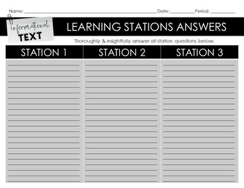 Informational Text Learning Stations for ANY Non-Fiction Text: DISTANCE LEARNING