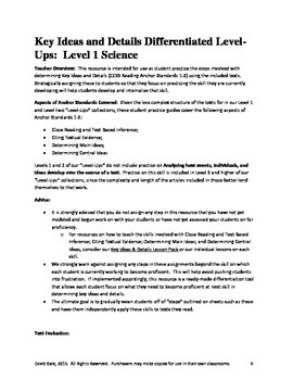Informational Text Level-Ups COLLECTION: Science Levels 1-6