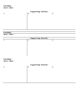 Informational Text Main Idea Organizer