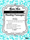 Informational Text Main Idea Reading Passages