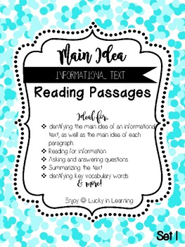 Informational Text Main Idea Reading Passages