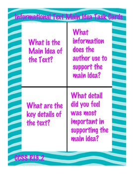 Informational Text Main Idea Task Cards