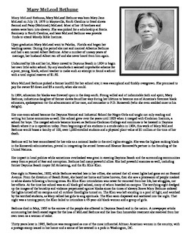 Informational Text-Mary McLeod Bethune (Standing Against the Wind)