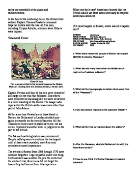 Informational Text - Events Leading to Independence: Boston Massacre (No Prep)