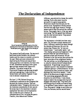 Informational Text - Moving Toward Independence: The Declaration of Independence