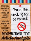 Informational Text Opinion Article Analysis: Smoking Age