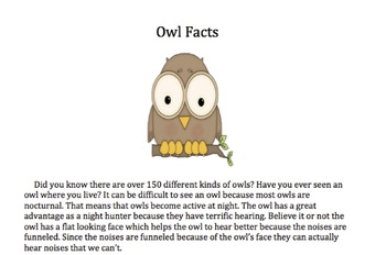 Informational Text Passage about Owls