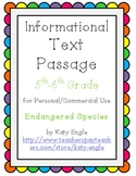 Informational Text Passage for Commercial Use - Endangered Species - 5th/6th Gr