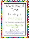 Informational Text Passage for Commercial Use - Infer About an Animal - 5th Gr