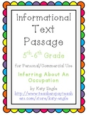 Informational Text Passage for Commercial Use - Inferencing about a Job