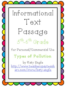 Informational Text Passage for Commercial Use - Pollution - 5th-6th Grade