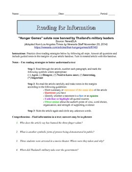 7th Grade Close Reading Article - Hunger Games Salute Banned