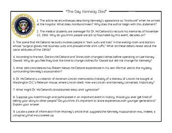 Informational Text Practice: Kennedy's Death
