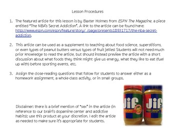 Informational Text Practice: PB&J in the NBA