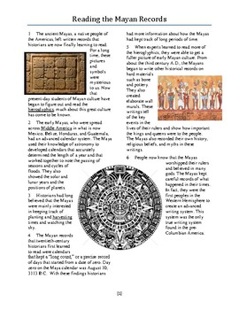Informational Text: Reading the Mayan Records