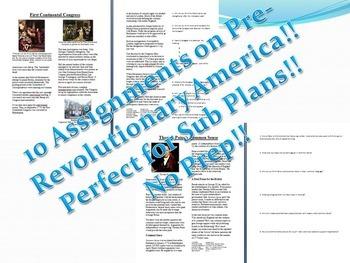 Info Reading Text - Pre-Revolution America Bundle 10 Articles (No Prep Sub Plan)