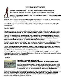 Informational Text: Prehistoric Times (No Prep)
