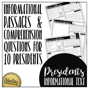 Informational Text: Presidents | Reading Comprehension Passages and Questions