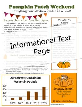 Informational Text - Pumpkin Patch Weekend