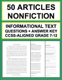 Informational Text Questions: 50 Non-Fiction Articles